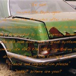 Dad's green Mercedes (Junkyard Essays project), 1999-2012, 35 mm photograph with text, 2.5 x 4 feet