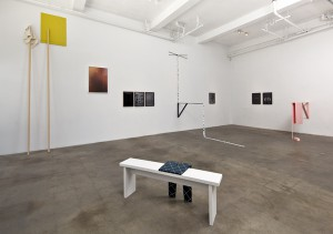 "Exhibition view, Lisa Williamson and Sarah Conaway, ""Weird Walks Into a Room (Comma),"" The Box, Los Angeles"