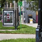 Installation view, bus shelter project: John Anderson City Limits