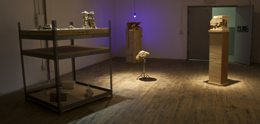 "Exhibition view, ""Table of Contents,"" Slag Gallery, Brooklyn, NY, October 12 - November 12, 2012"